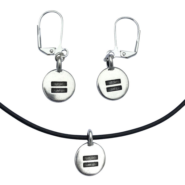 DragonWeave Equality Circle Charm Necklace and Earring Set, Silver Plated Black Leather Choker and Leverback Earrings