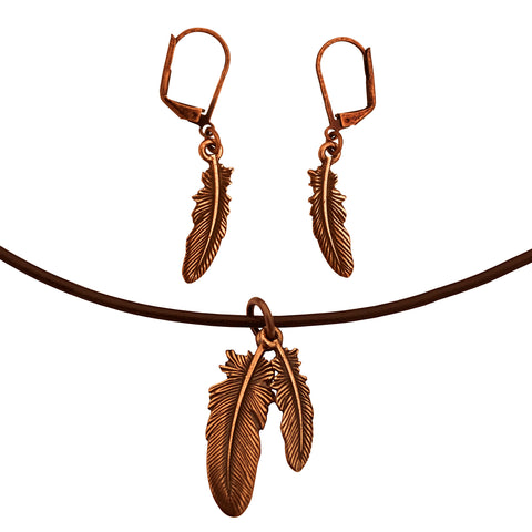 DragonWeave Feather Charm Necklace and Earring Set, Antique Copper Brown Leather Choker and Leverback Earrings