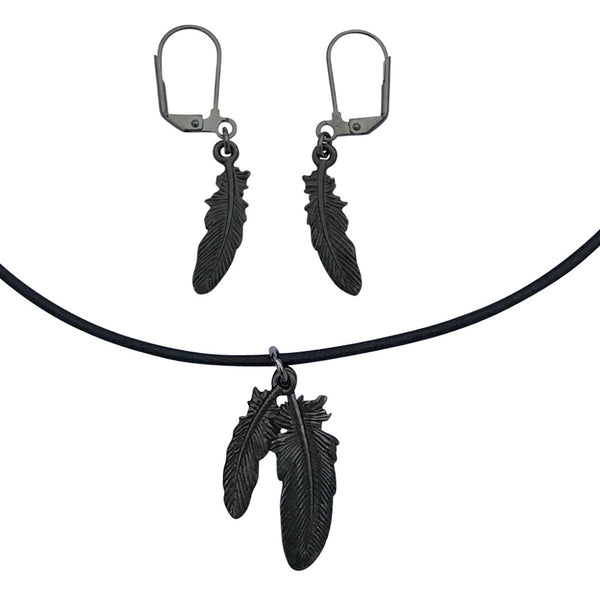 DragonWeave Raven Feather Charm Necklace and Earring Set, Gunmetal Black Leather Choker and Leverback Earrings