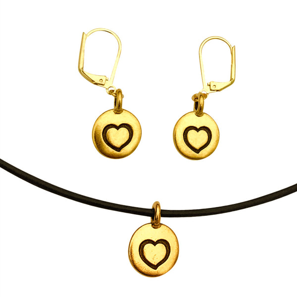 DragonWeave Heart Circle Charm Necklace and Earring Set, Gold Plated Black Leather Choker and Leverback Earrings
