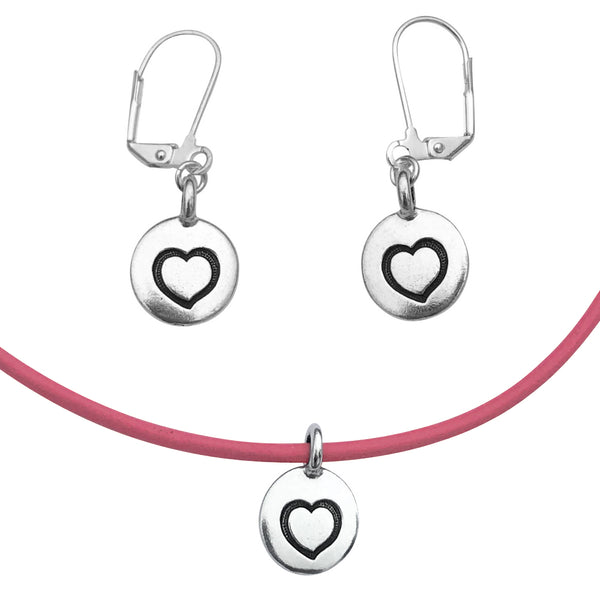 DragonWeave Heart Circle Charm Necklace and Earring Set, Silver Plated Pink Leather Choker and Leverback Earrings