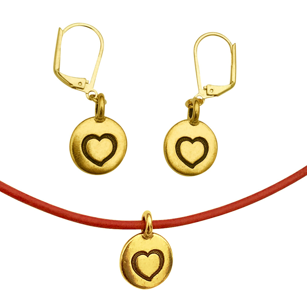 DragonWeave Heart Circle Love Charm Red Necklace & Earring Set, Gold Plated Red Leather Adjustable