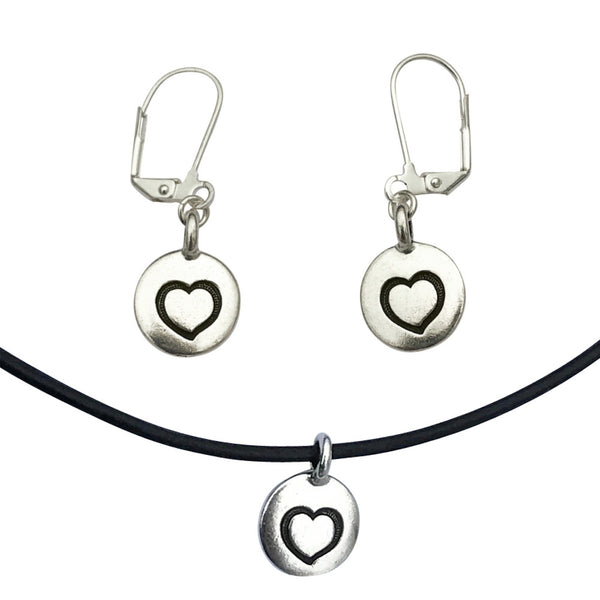 DragonWeave Heart Circle Charm Necklace and Earring Set, Silver Plated Black Leather Choker and Leverback Earrings