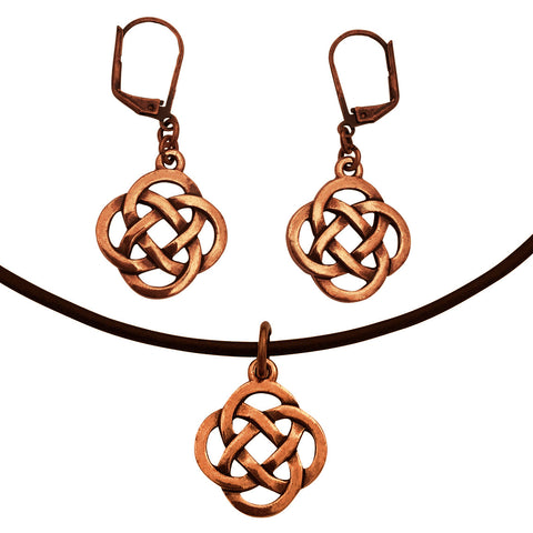 DragonWeave Infinity Knot Charm Necklace and Earring Set, Antique Copper Brown Leather Choker and Leverback Earrings
