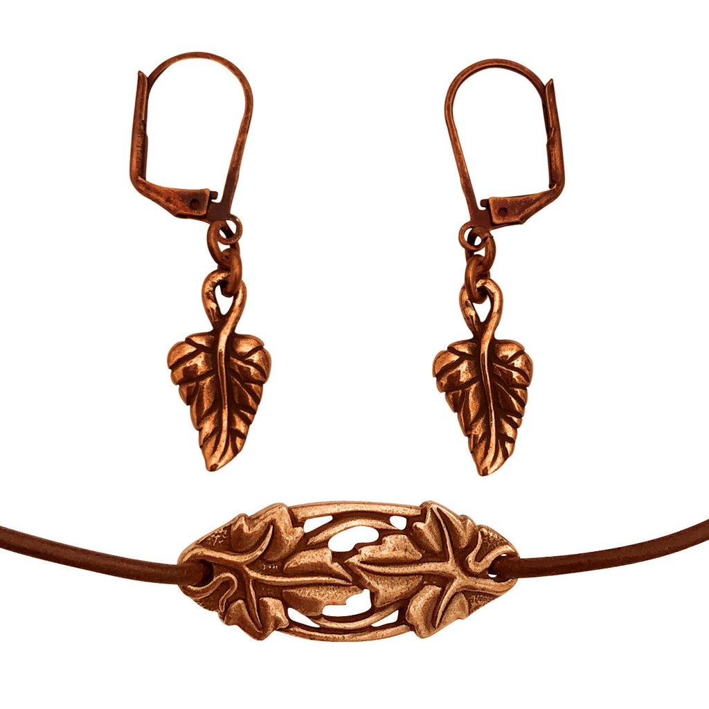 DragonWeave Elven Ivy Charm Necklace and Earring Set, Antique Copper Brown Leather Choker and Leverback Earrings