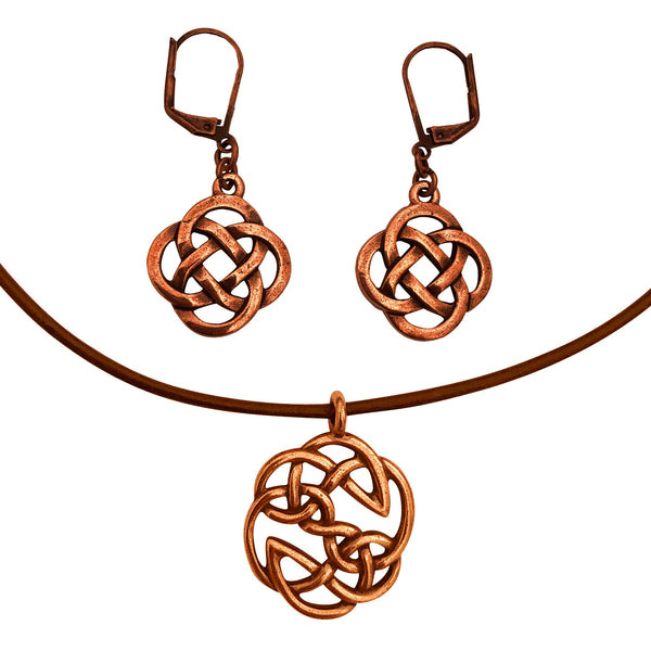 DragonWeave Celtic Open Knot Charm Necklace and Earring Set, Antique Copper Brown Leather Choker and Leverback Earrings