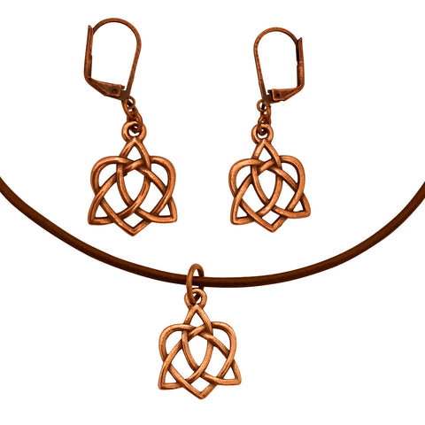DragonWeave Celtic Heart Open Knot Charm Necklace and Earring Set, Antique Copper Brown Leather Choker and Leverback Earrings