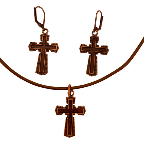 DragonWeave Dark Cross Charm Necklace and Earring Set, Antique Copper Brown Leather Choker and Leverback Earrings