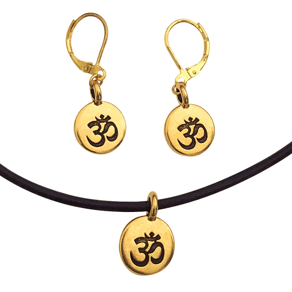 DragonWeave Om/Ohm Symbol Circle Charm Necklace and Earring Set, Gold Plated Black Leather Choker and Leverback Earrings