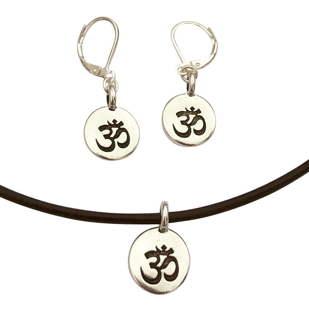 DragonWeave Om/Ohm Symbol Circle Charm Necklace and Earring Set, Silver Plated Black Leather Choker and Leverback Earrings