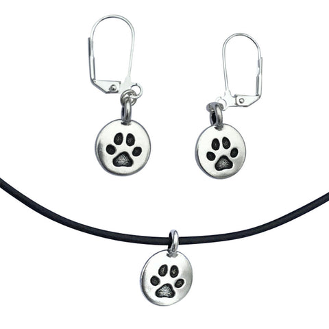 DragonWeave Paw Circle Charm Necklace and Earring Set, Silver Plated Black Leather Choker and Leverback Earrings