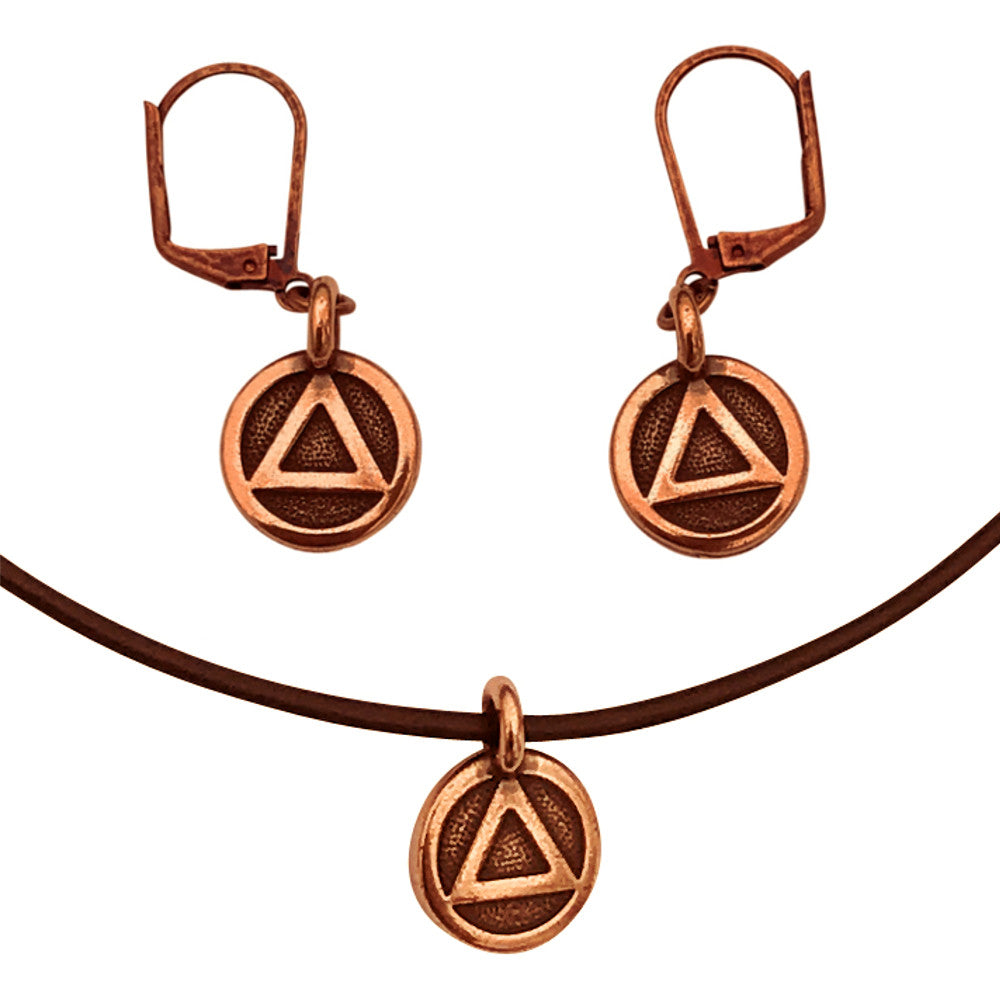 DragonWeave Recovery Triangle Circle Charm Necklace and Earring Set, Antique Copper Brown Leather Choker and Leverback Earrings