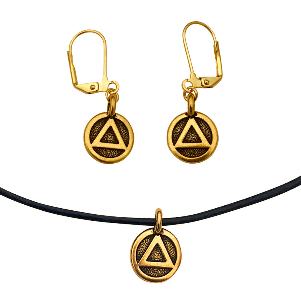 DragonWeave Recovery Triangle Circle Charm Necklace and Earring Set, Gold Plated Black Leather Choker and Leverback Earrings