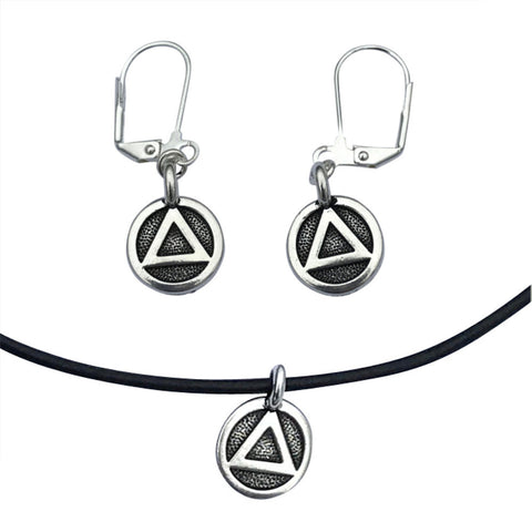 DragonWeave Recovery Triangle Circle Charm Necklace and Earring Set, Silver Plated Black Leather Choker and Leverback Earrings