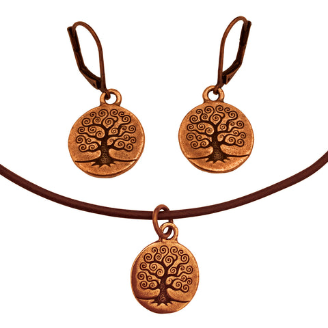 DragonWeave Tree Circle Charm Necklace and Earring Set, Antique Copper Brown Leather Choker and Leverback Earrings