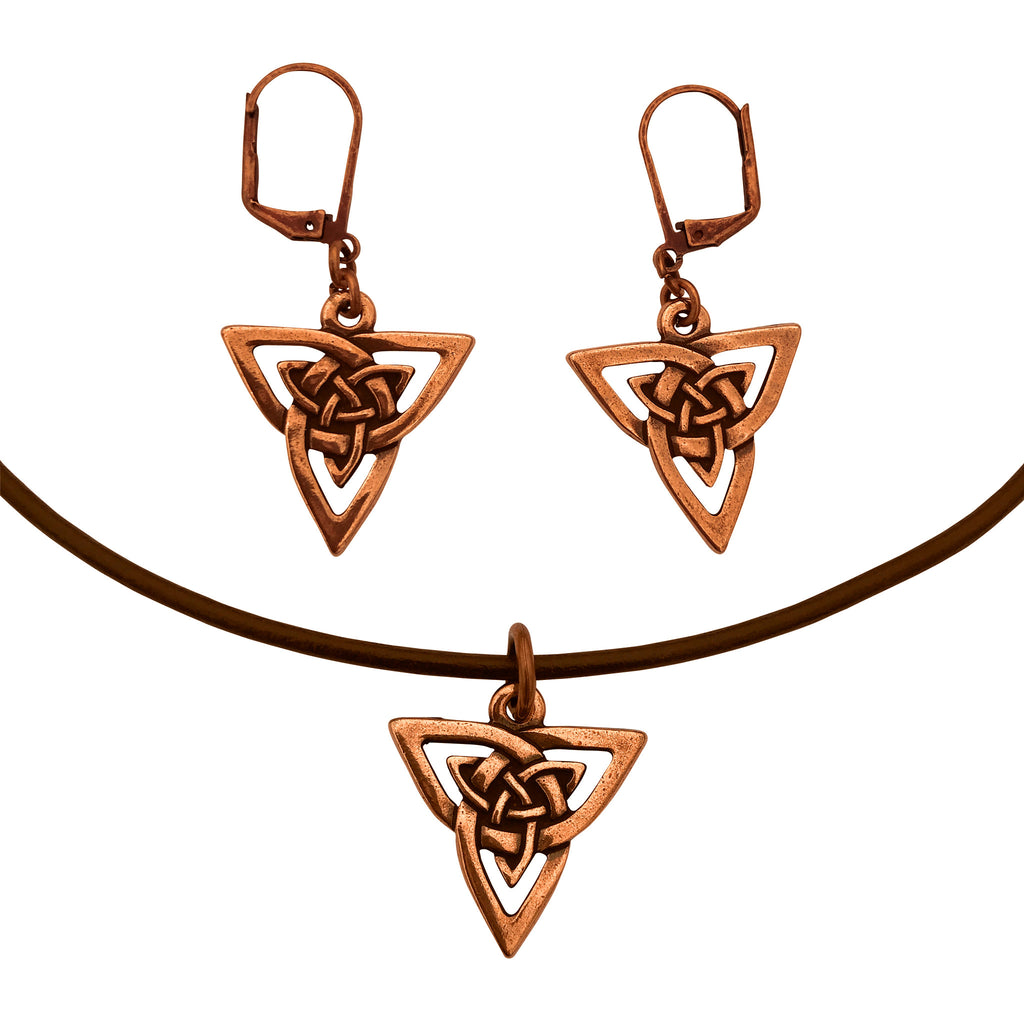 DragonWeave Celtic Trine Charm Necklace and Earring Set, Antique Copper Brown Leather Choker and Leverback Earrings