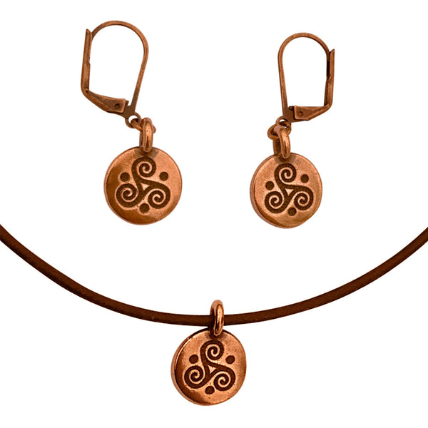 DragonWeave Celtic Triskele Circle Charm Necklace and Earring Set, Antique Copper Brown Leather Choker and Leverback Earrings