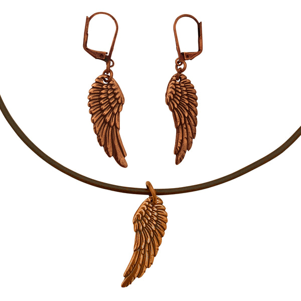 DragonWeave Wing Charm Necklace and Earring Set, Antique Copper Brown Leather Choker and Leverback Earrings