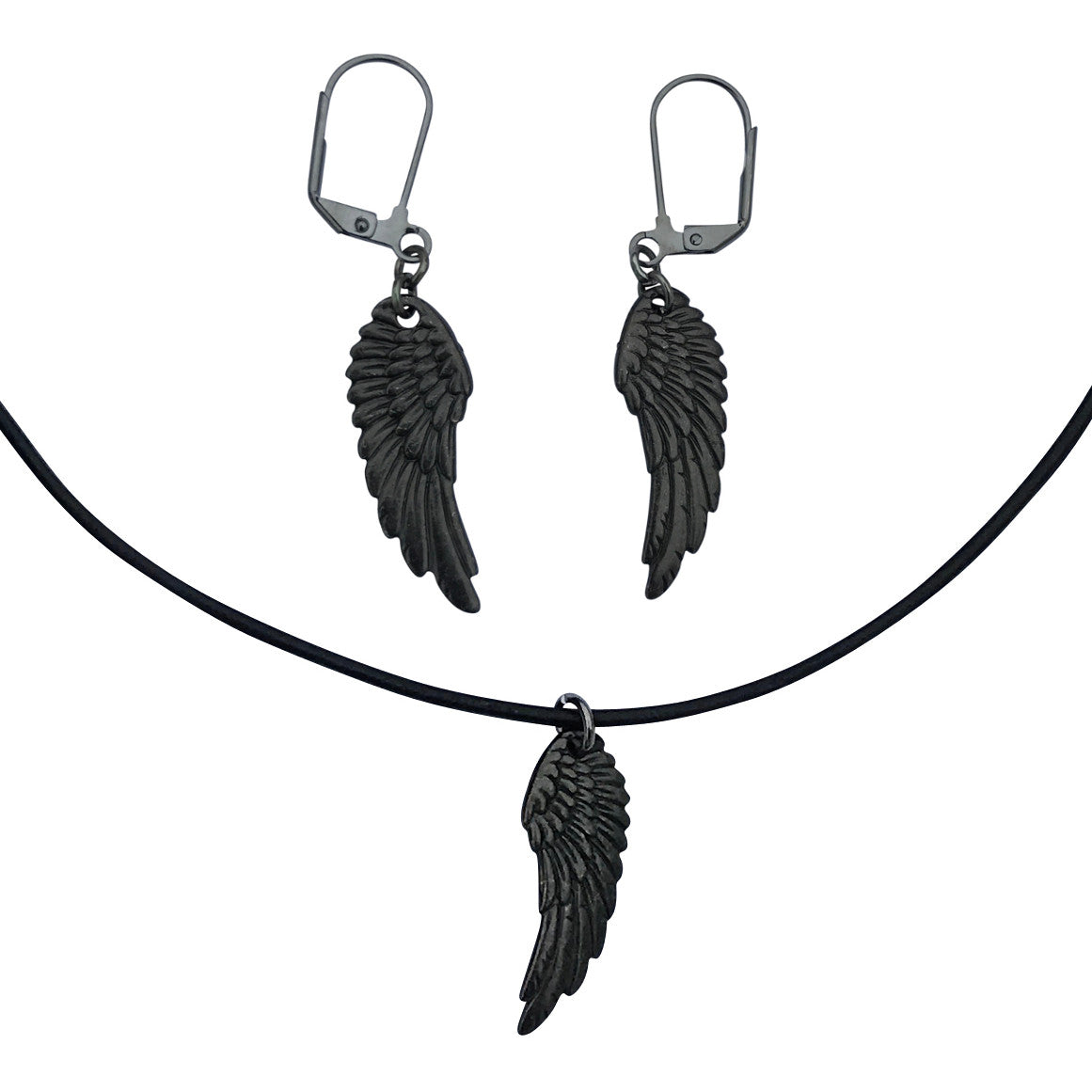 Dragonweave raven wing charm necklace and earring set gunmetal dragonweave raven wing charm necklace and earring set gunmetal black leather choker and leverback earrings buycottarizona Gallery