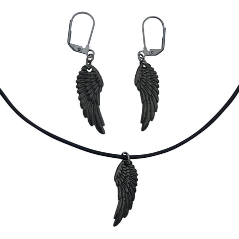 DragonWeave Raven Wing Charm Necklace and Earring Set, Gunmetal Black Leather Choker and Leverback Earrings