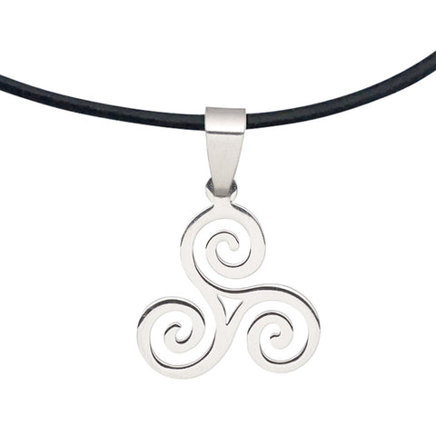 DragonWeave Steel Celtic Triskele Spiral Pendant Necklace on Black Leather Cord, Adjustable