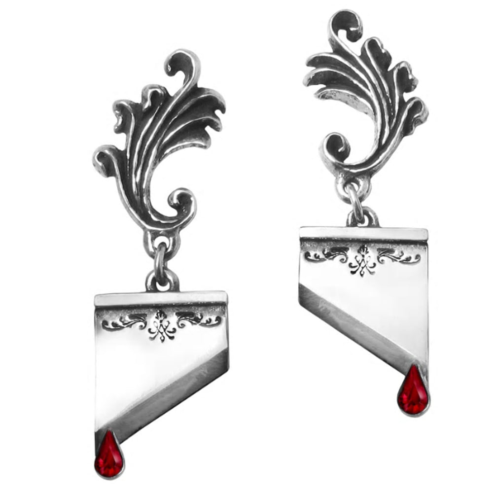 Marie Antoinette Red Crystal Guillotine Earrings by Alchemy Gothic
