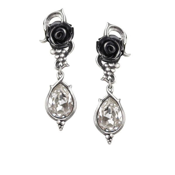 Bacchanal Black Rose Crystal Earrings by Alchemy Gothic