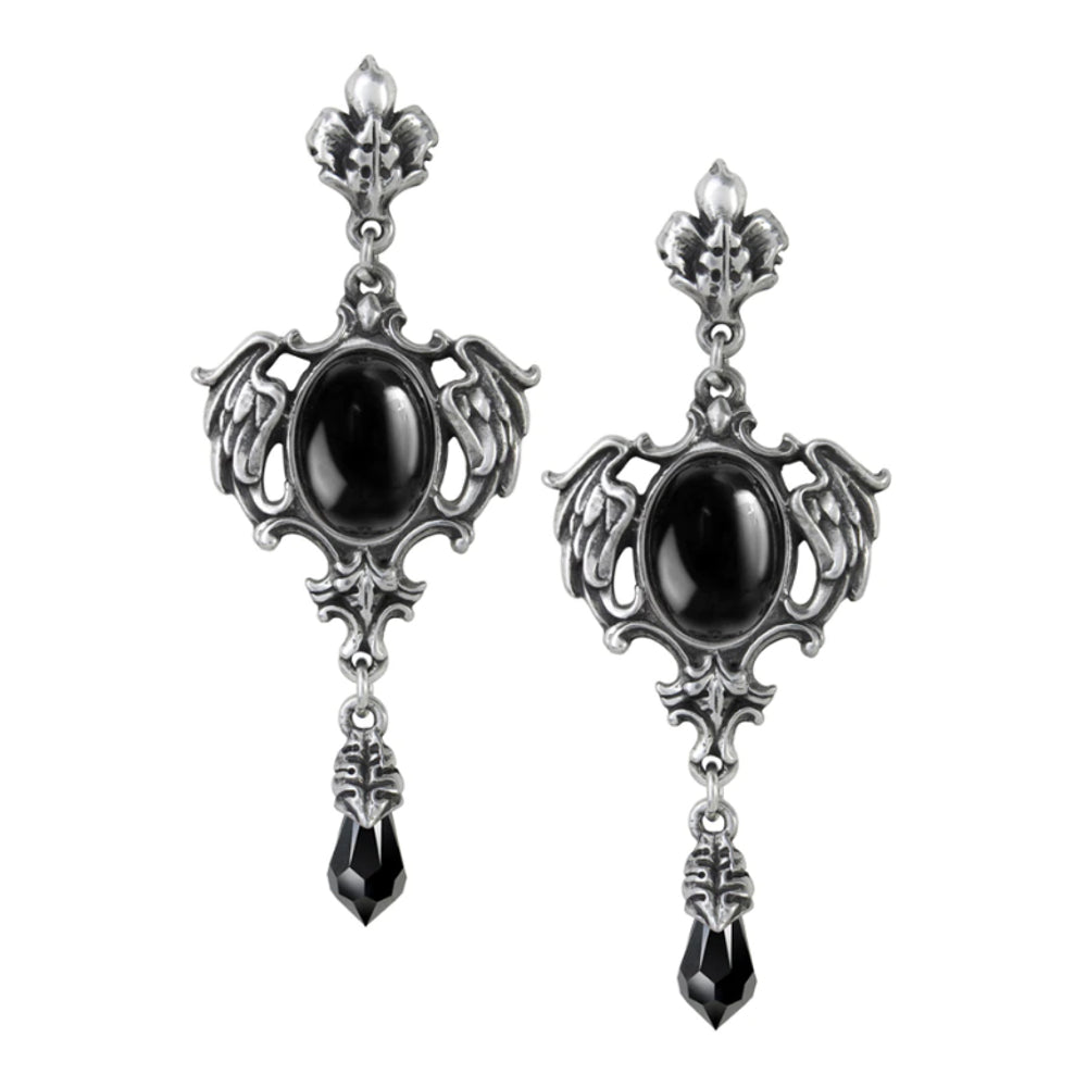 Seraph of Darkness Black Crystal Earrings by Alchemy Gothic