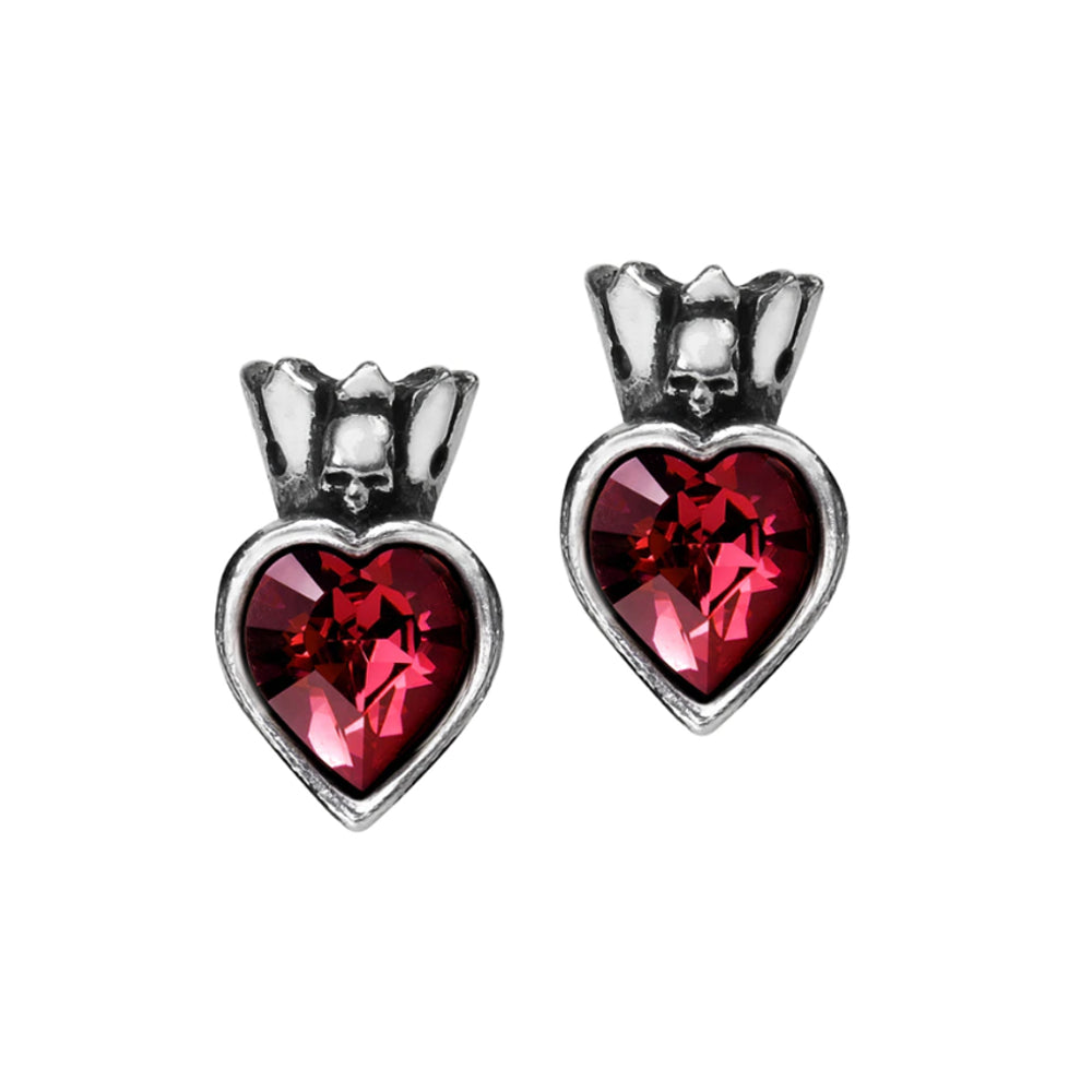 Claddagh Heart Earstuds Red Crystal Earrings by Alchemy Gothic