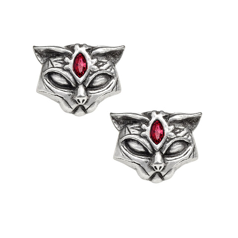 Sacred Cat Earrings with Red Crystals by Alchemy Gothic