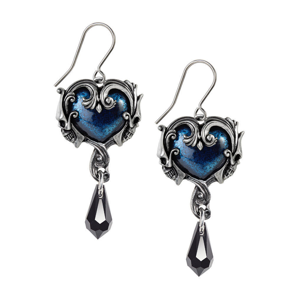 Affaire Du Coeur Earrings Crystal Heart Skull Drops by Alchemy Gothic