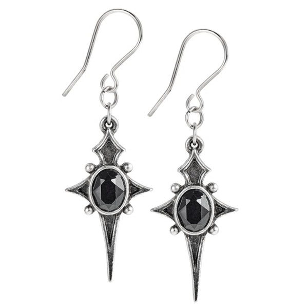 Sterne Leben Black Star Crystal Earrings by Alchemy Gothic