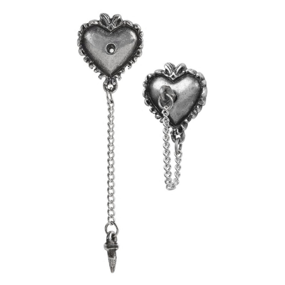 Witches Heart Stud Earrings by Alchemy Gothic