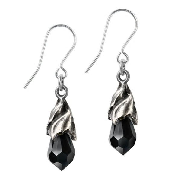 Empyrean Tear Black Crystal Earrings by Alchemy Gothic