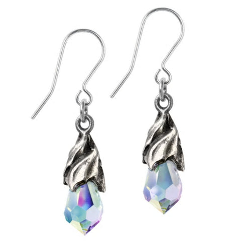 Empyrean Tear Clear Aurora Crystal Earrings by Alchemy Gothic