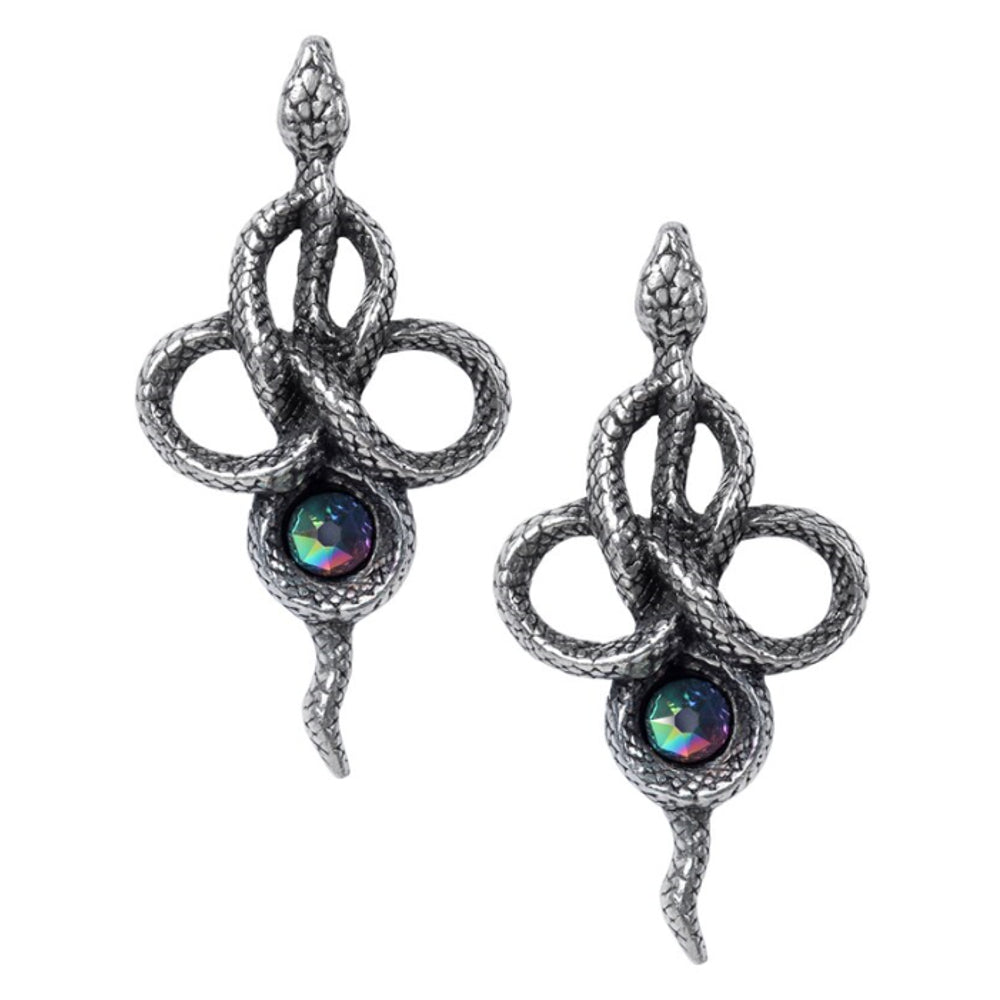 Tercia Serpent/Snake Crystal Earrings by Alchemy Gothic
