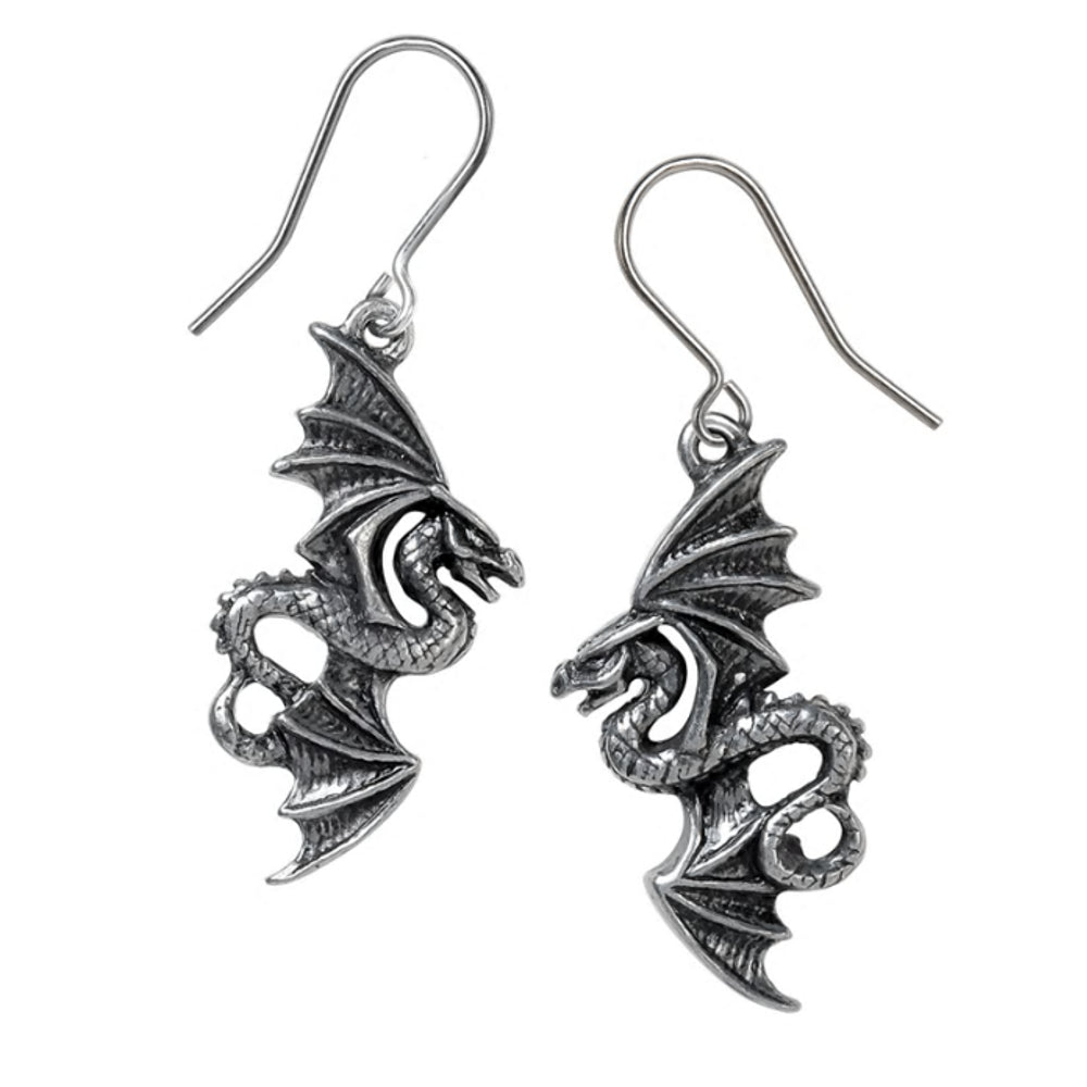 Flight of Airus Droppers Dragon Earrings by Alchemy Gothic