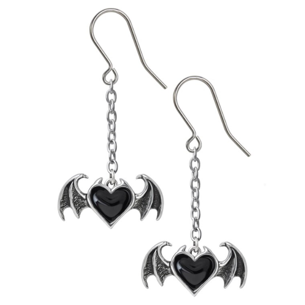 Blacksoul Droppers Demon Black Heart Drop Earrings by Alchemy Gothic