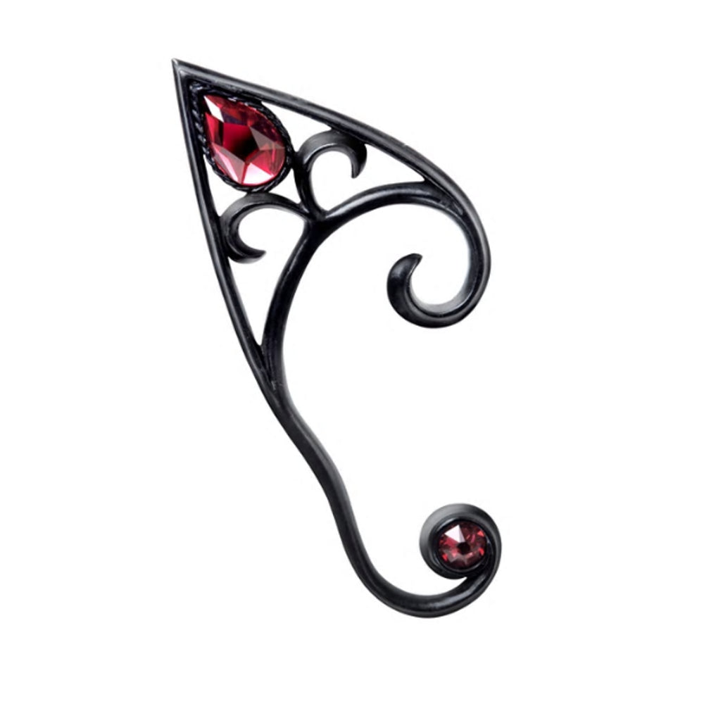 Elvyn Earwrap Black with Red Crystal Elven Ear Wrap Earring by Alchemy Gothic