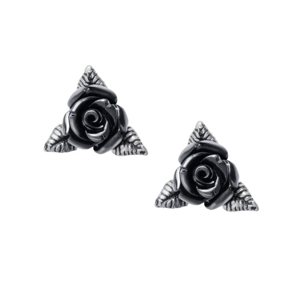 Ring O'Roses Black Rose Ear Studs by Alchemy Gothic