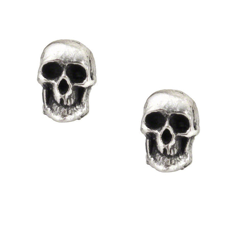 Death Earrings - Skull Ear Studs by Alchemy Gothic