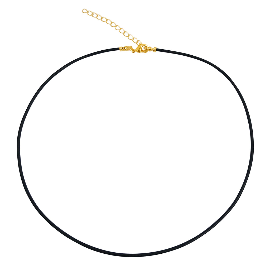 "Gold Plated 1.8mm Fine Black Leather Cord Necklace with 2"" Extender Chain"