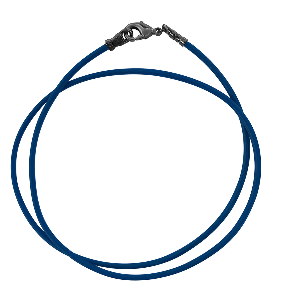 Gunmetal 1.8mm Fine Royal Blue Leather Cord Necklace