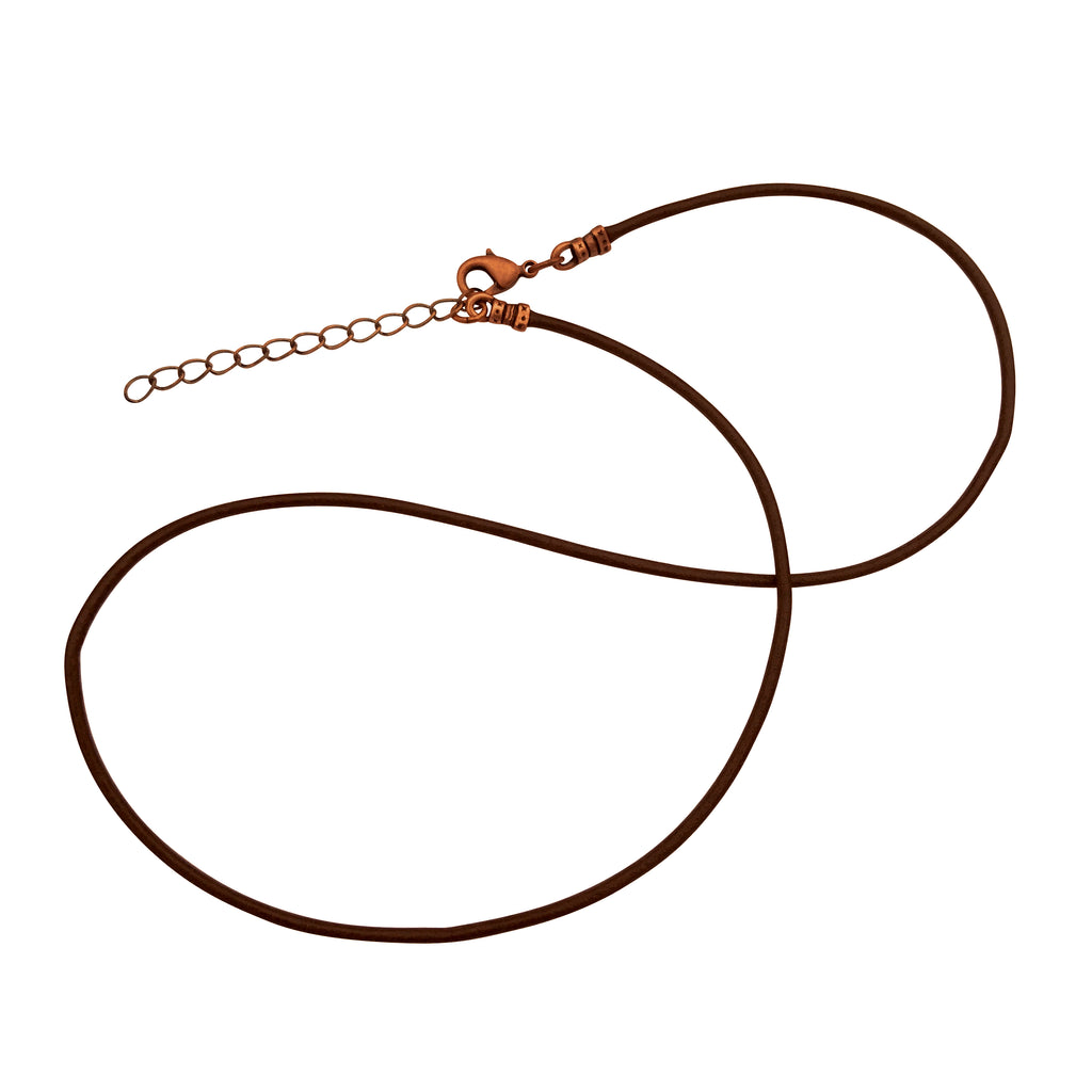 Antique Copper 1.8mm Fine Brown Leather Cord Necklace with Extender Chain