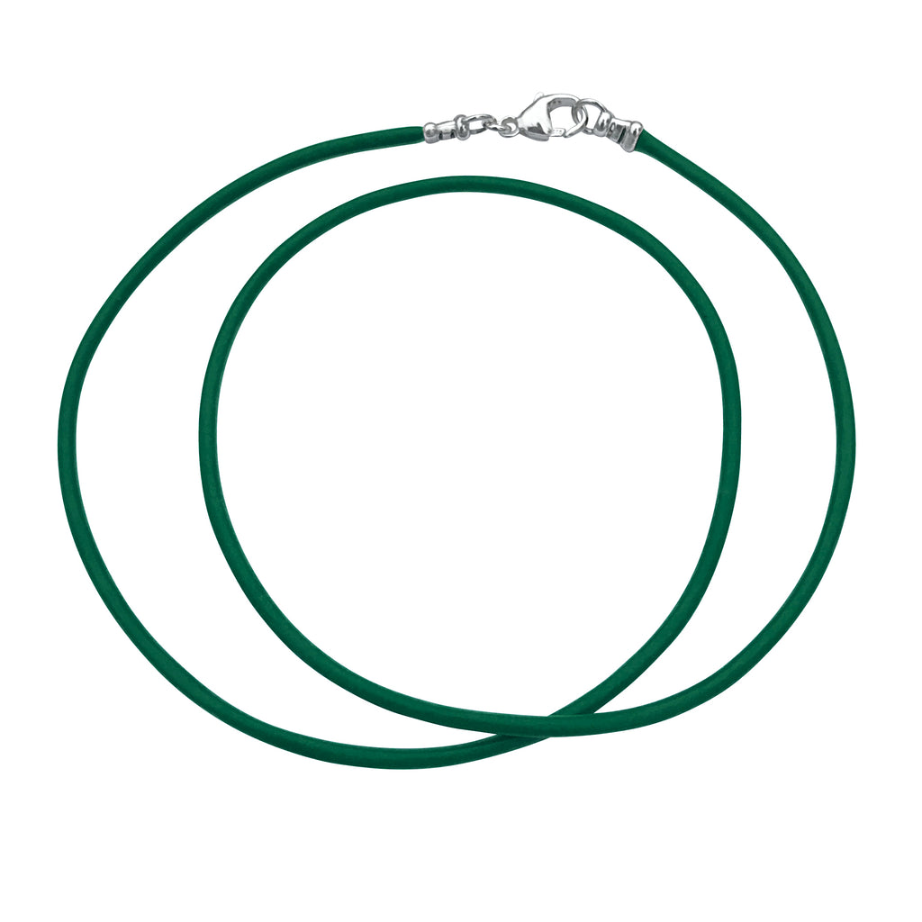 Sterling Silver 1.8mm Fine Emerald Green Leather Cord Necklace