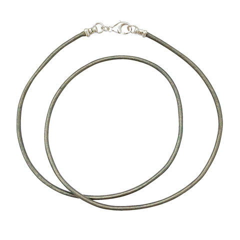 Sterling Silver 1.8mm Fine Metallic Gray Leather Cord Necklace