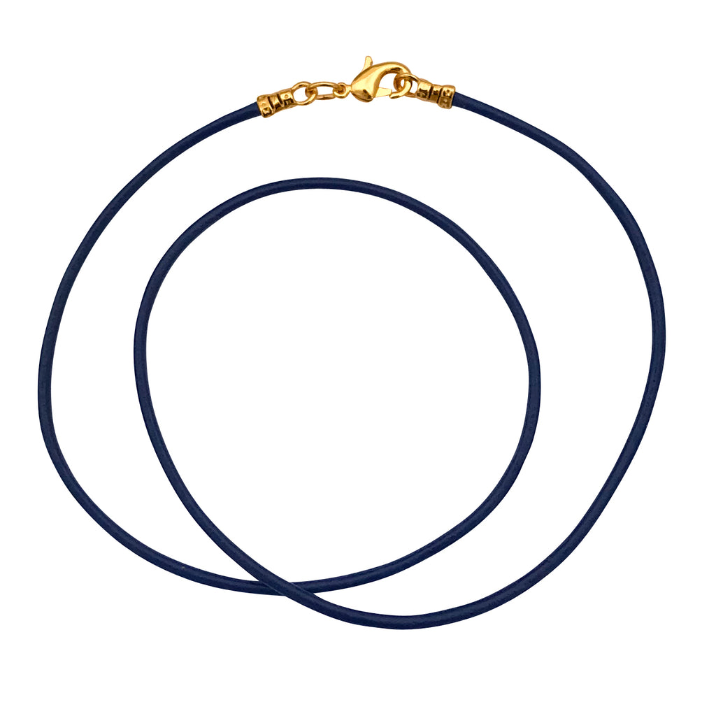 Gold Plated 1.8mm Fine Navy Blue Leather Cord Necklace
