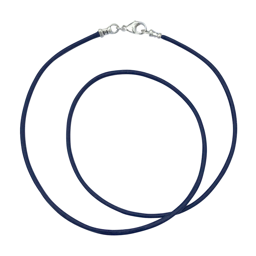 Sterling Silver 1.8mm Fine Navy Blue Leather Cord Necklace