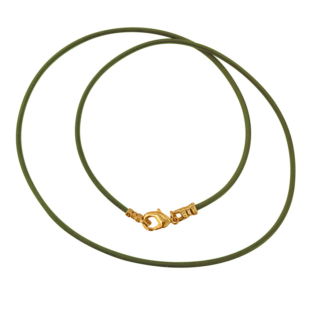 Gold Plated 1.8mm Fine Olive Green Leather Cord Necklace
