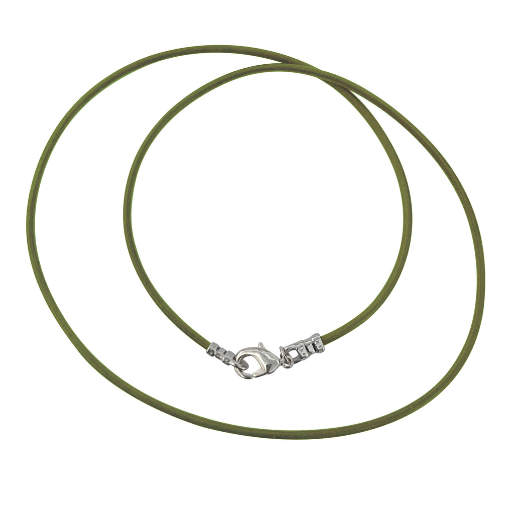 Sterling Silver 1.8mm Fine Olive Green Leather Cord Necklace